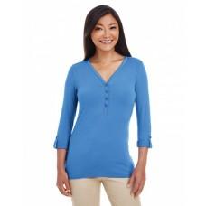 DP186W Ladies' Perfect Fit™ Y-Placket Convertible Sleeve Knit Top - Devon & Jones Womens Sweatshirts